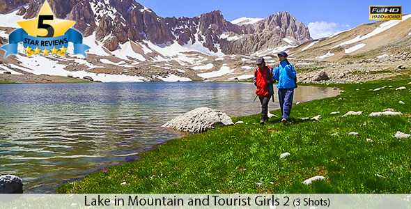 Girls Going On A Walk Near Mountain Lake
