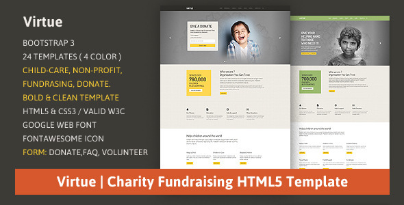 ThemeForest Virtue Charity Fundraising HTML5 Template 8518507