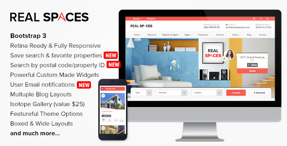 Bootstrap Blog - Real Spaces - <p>Wordpress Real Estate Theme</p>