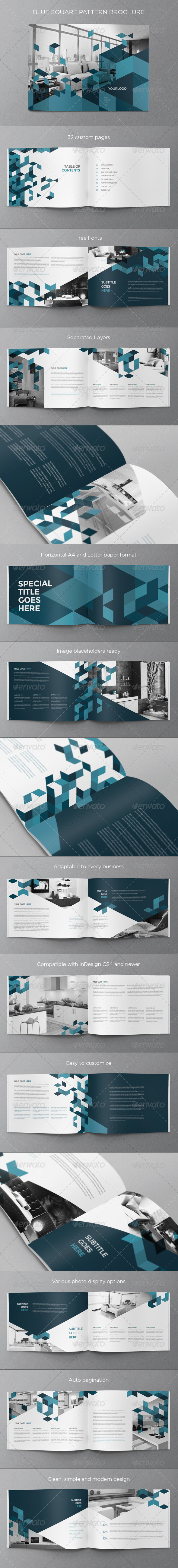 Blue Square Pattern Brochure
