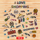 I Love Shopping Set - GraphicRiver Item for Sale