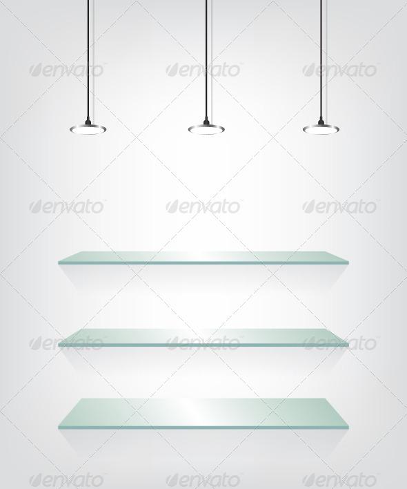 GraphicRiver Glass Shelves with Spotlight 8542180