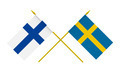 Flags of Finland and Sweden, 3d Render, Isolated on White - PhotoDune Item for Sale