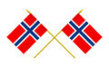Two Crossed Flags of Norway, 3d Render, Isolated on White - PhotoDune Item for Sale