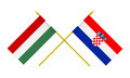 Flags of Hungary and Croatia, 3d Render, Isolated on White - PhotoDune Item for Sale
