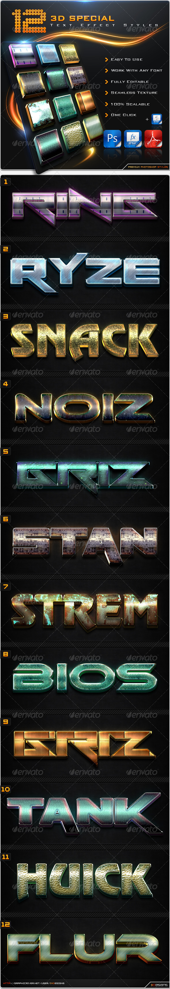 GraphicRiver 12 Special 3D Text Effect Styles 8542894