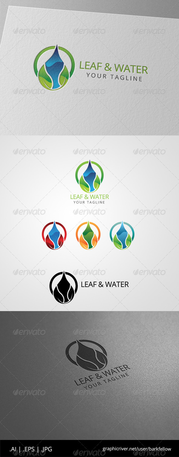 GraphicRiver Green Leaf Water Drop Logo 8543316