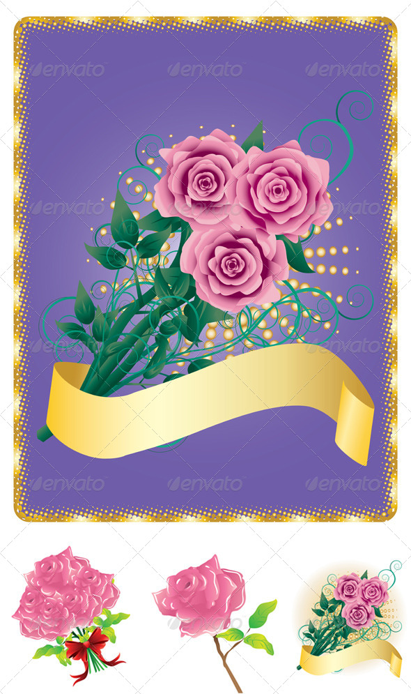 GraphicRiver Card with Pink Roses 8543370