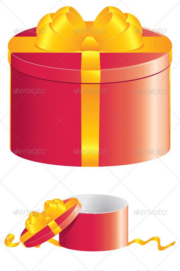 GraphicRiver Red Round Gift Box 8543387