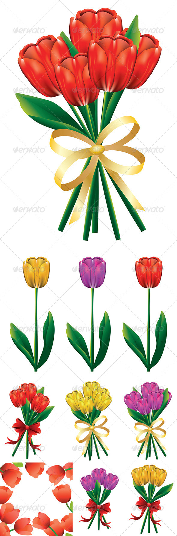 GraphicRiver Tulip Bouquet with Bow 8543391