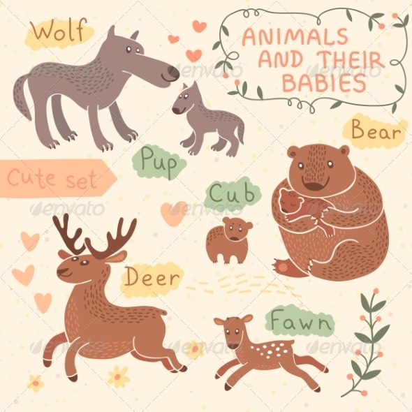 GraphicRiver Baby and Mommy Animal Set 8543582