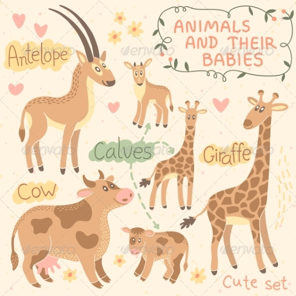 GraphicRiver Baby and Mommy Animal Set 8543695