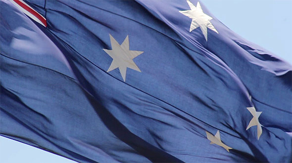 Large Australian Flag Closeup Slow Motion