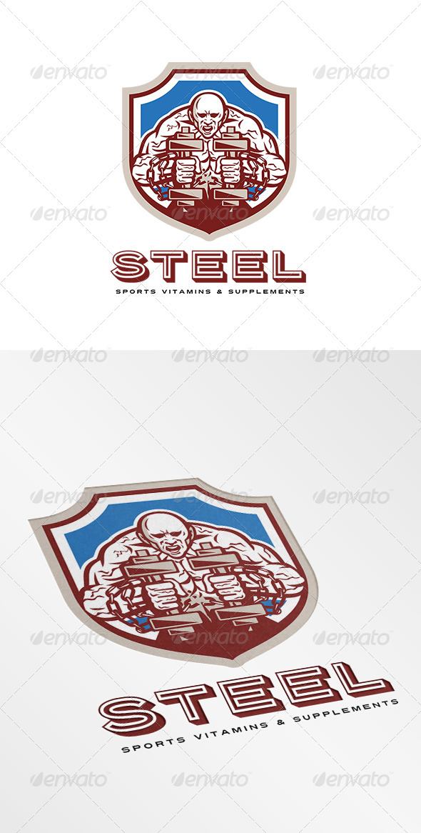 GraphicRiver Steel Sports Supplements and Vitamins Logo 8543774
