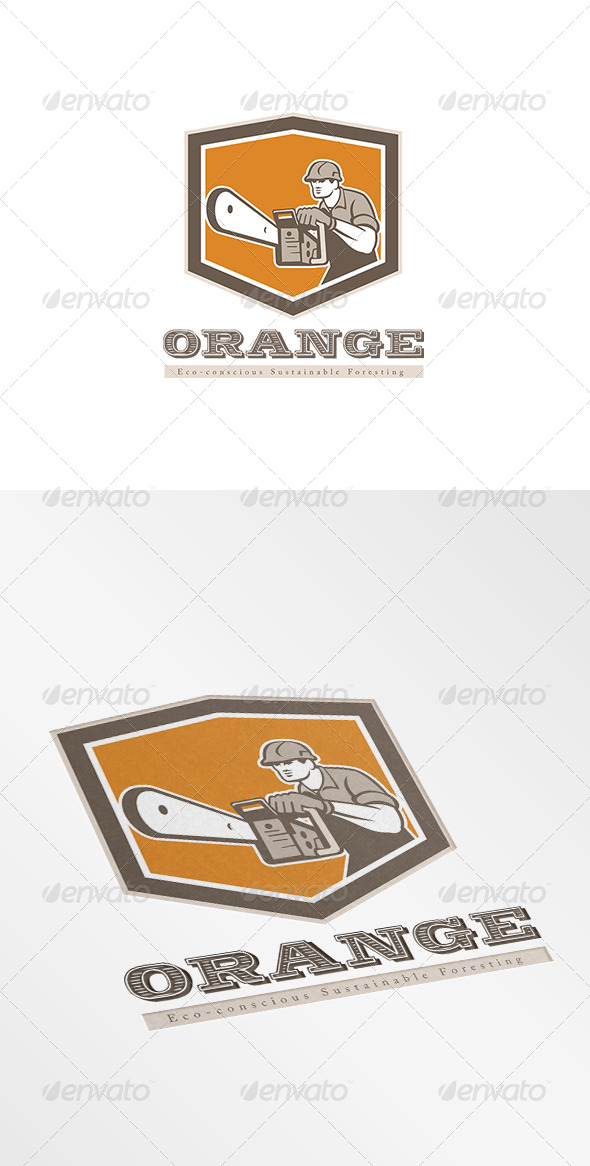 GraphicRiver Orange Eco Sustainable Foresting Logo 8543856