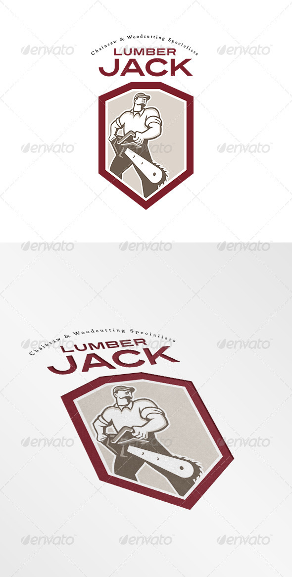 GraphicRiver Lumberjack Chainsaw Logo 8543865