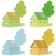 Cartoon Colorful Houses and Trees - GraphicRiver Item for Sale