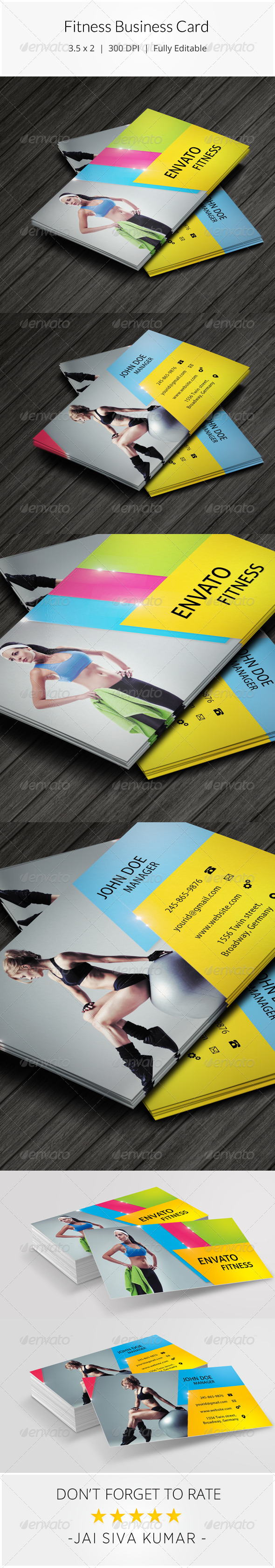 GraphicRiver Fitness Business Card 8544269