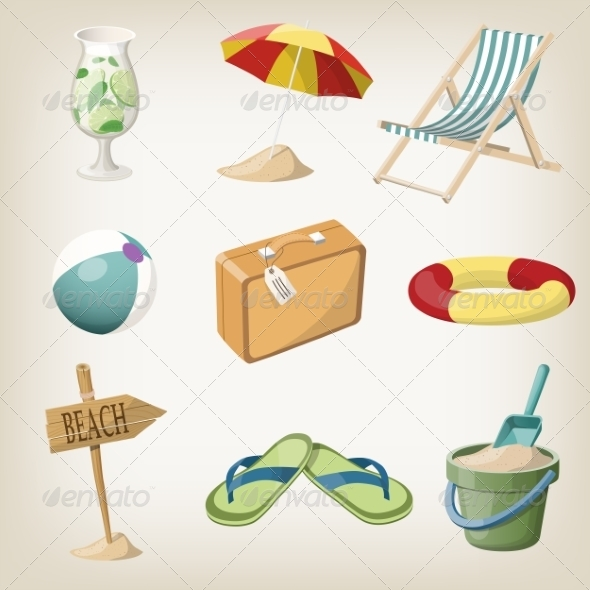 GraphicRiver Beach Items Set Travel Vacation Items 8544363