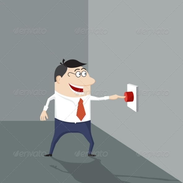 GraphicRiver Cartoon Man Pushing a Red Button 8544365
