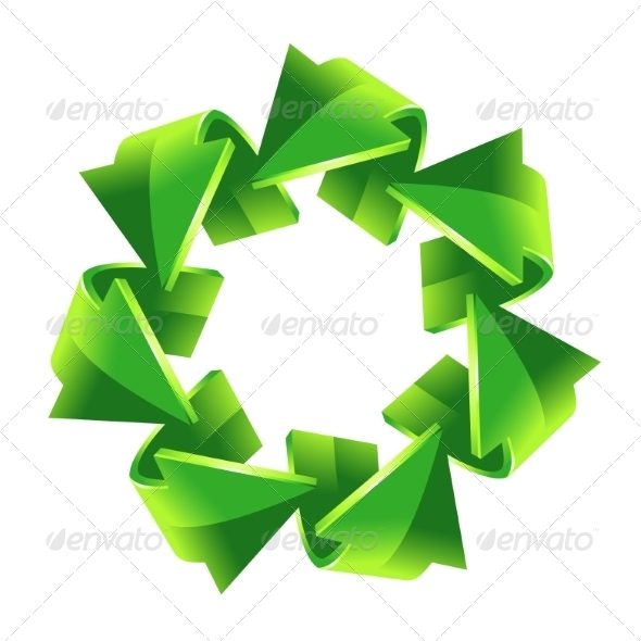 GraphicRiver 7 Green Recycling Arrows 8544412