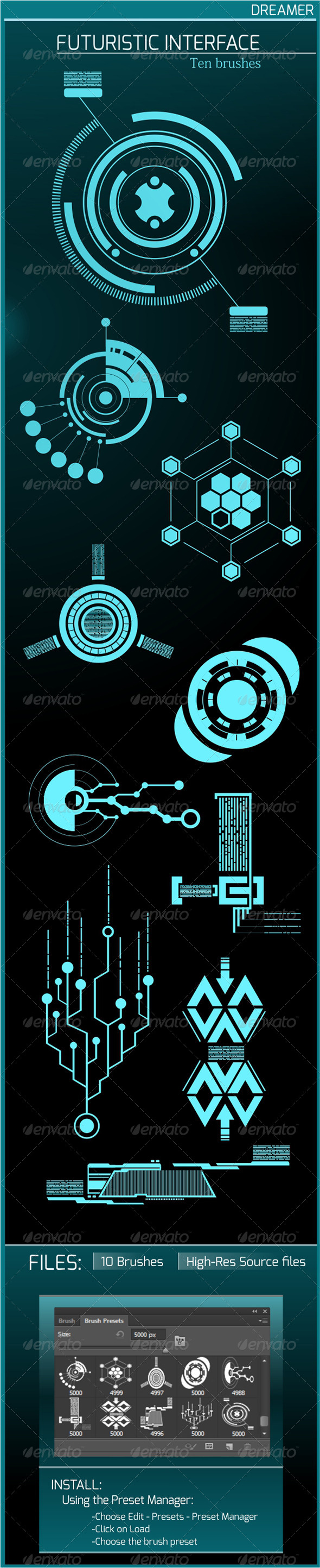 GraphicRiver Futuristic Interface Ten Brushes 8544620