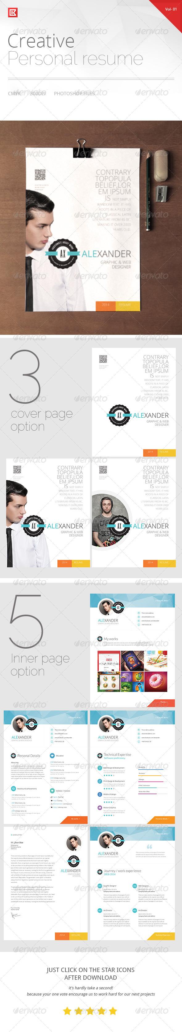 GraphicRiver Creative Personal Resume and CV 8544640