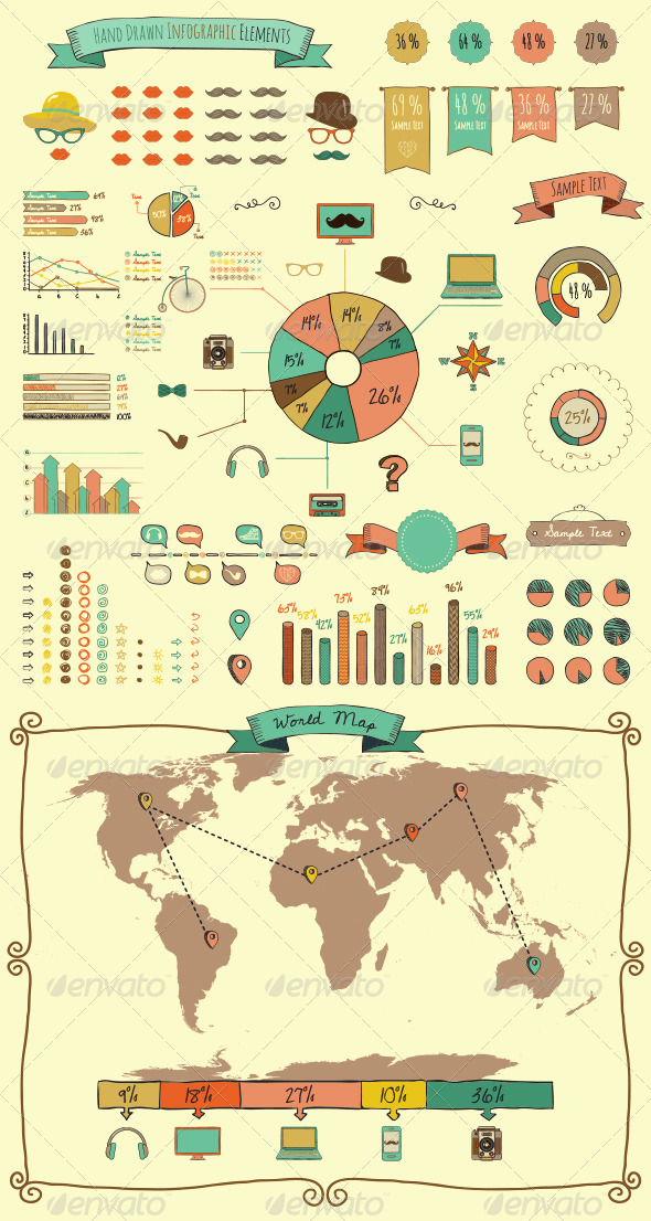 GraphicRiver Hand Drawn Elements and Icons of Infographics 8544717