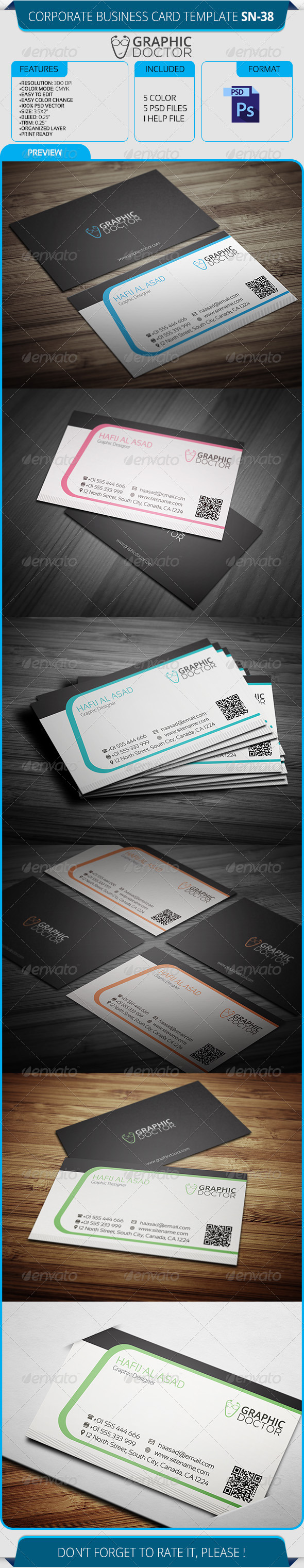 GraphicRiver Corporate Business Card Template SN-38 8545215