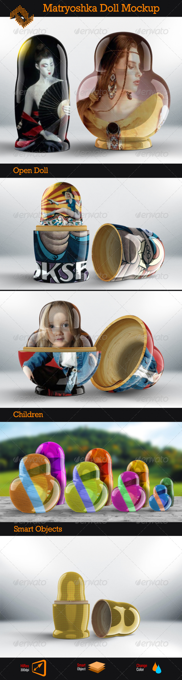 GraphicRiver Matryoshka Doll Mockup 8545352