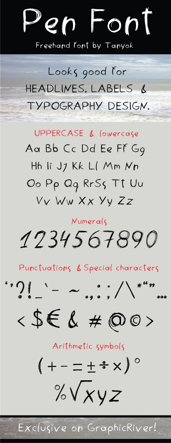 GraphicRiver Penfont freehand font 8545381