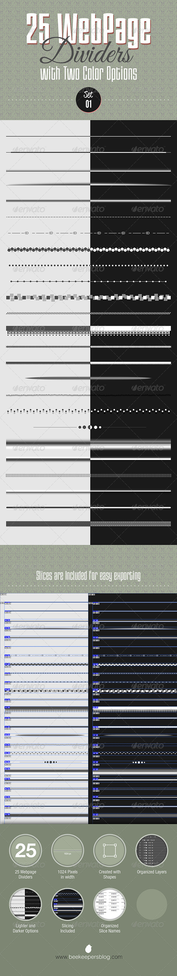 GraphicRiver 25 Webpage Dividers Set 01 8542149