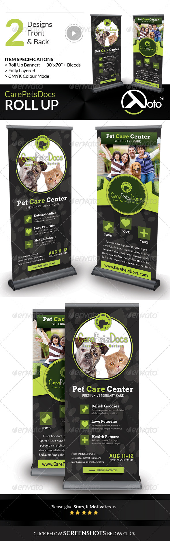 GraphicRiver Care Pets Docs Veterinary Roll Up Banner 8545564