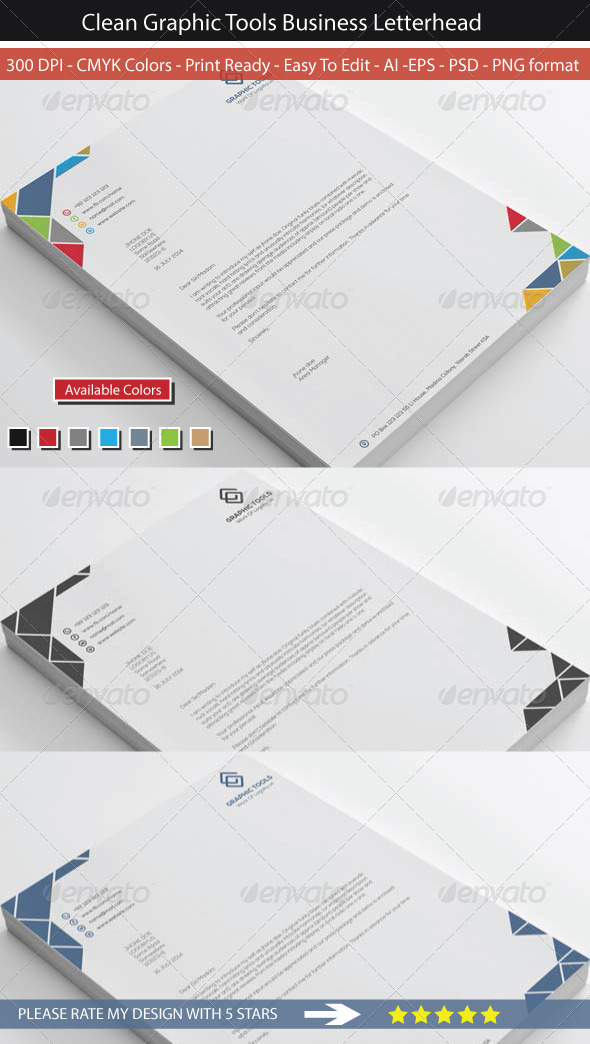 GraphicRiver Colorful Graphic Tools Letterhead 8545578