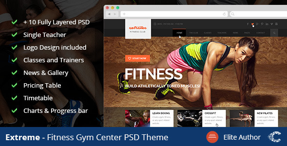 ThemeForest Extreme GYM Fitness Clean Template 8518409