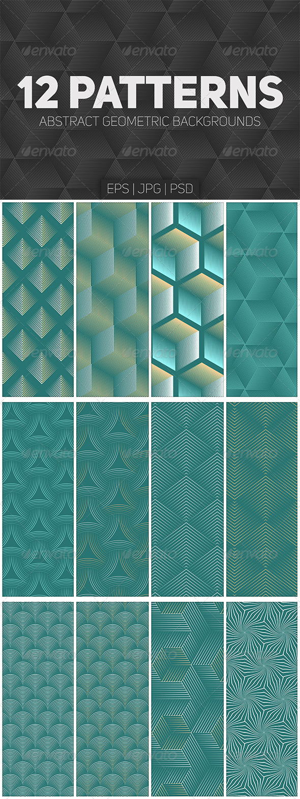 12 Seamless Geometric Patterns