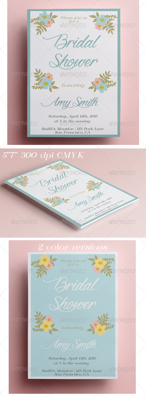 GraphicRiver Floral Bridal Shower Invitation 8545928