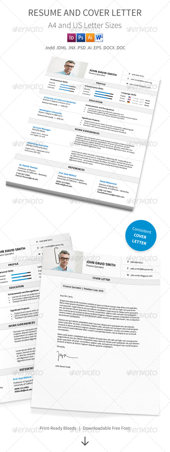 GraphicRiver Resume and Cover Letter A4 and Us Letter Sizes 8546444