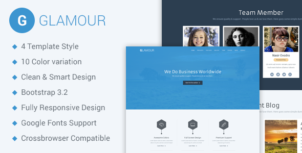 Full Site Templates - Glamour - <p>Corporate One Page HTML5 Template</p>