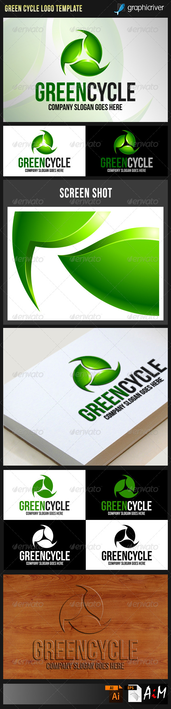 GraphicRiver Green Cycle Recycling Natural Energy Logo 8543309