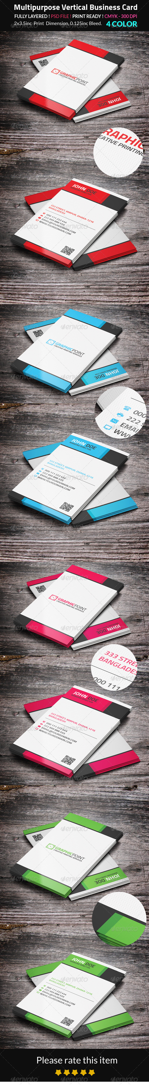 GraphicRiver Multipurpose Vertical Business Card 8547084