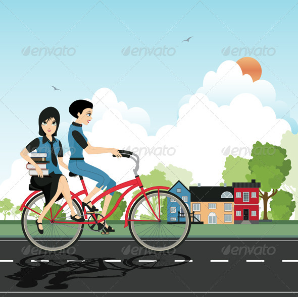 GraphicRiver Students Cycling 8548002