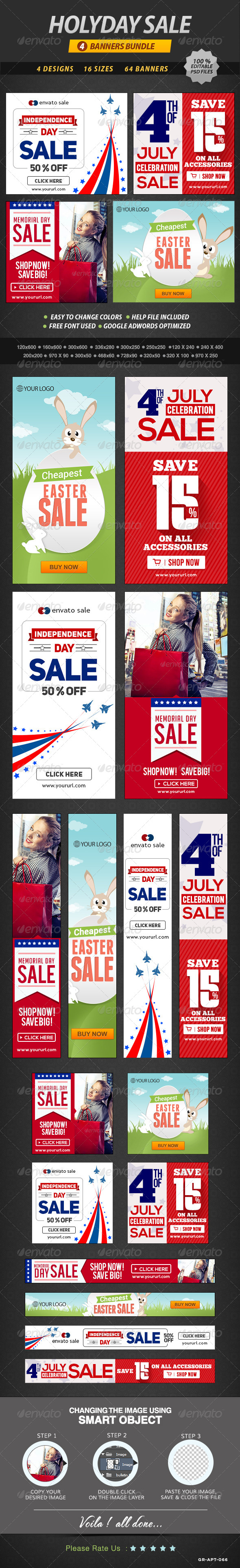 GraphicRiver Holiday Sale Banner Bundle 4 sets 8548360