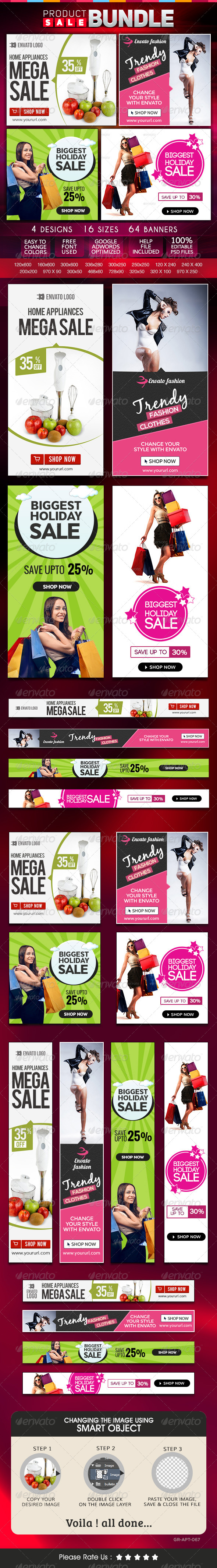 GraphicRiver Product Sale Banner Bundle 4 sets 8548366