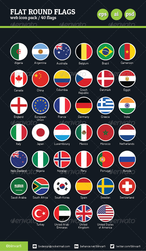 Flat Round Icon Flags