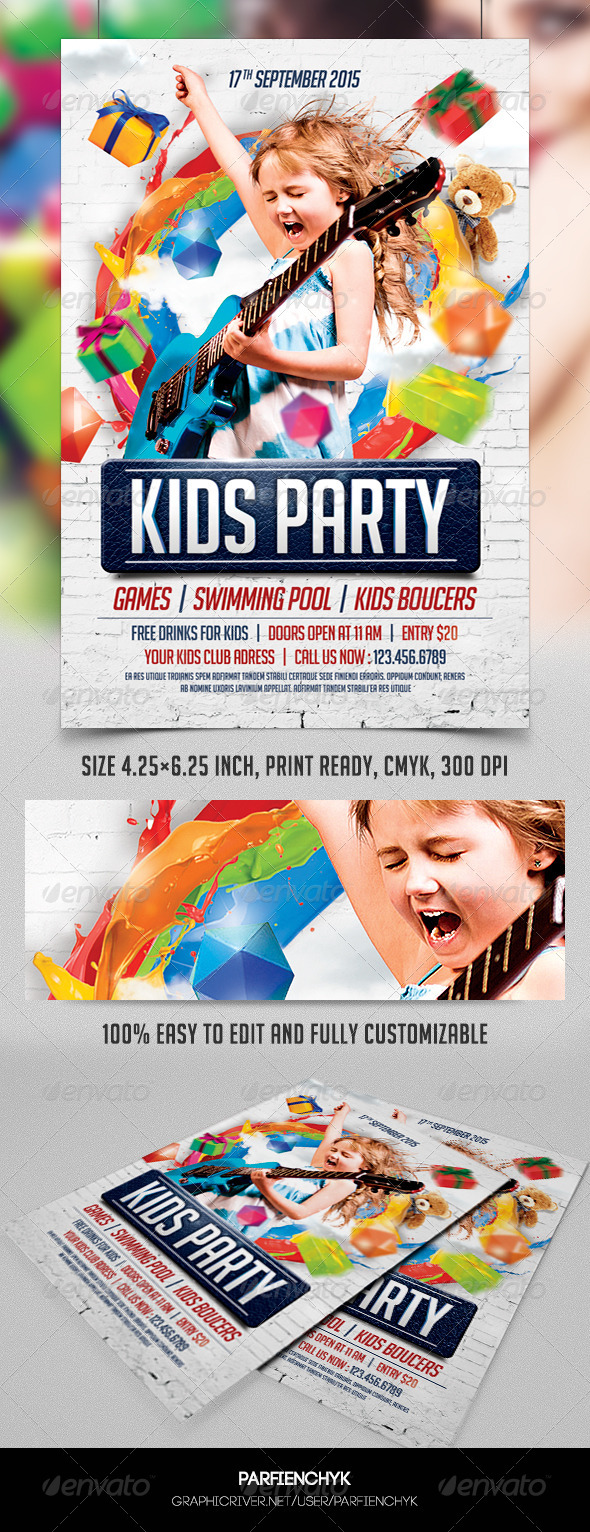 GraphicRiver Kids Party Flyer Template 8549102