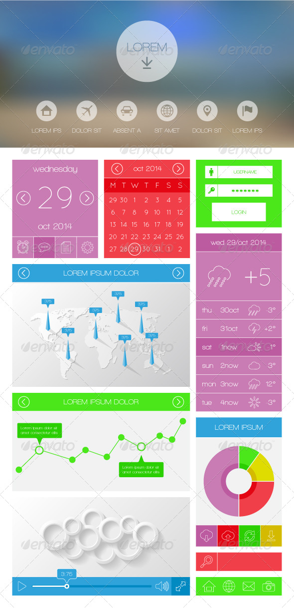 GraphicRiver Flat UI kit for web and mobile design 8549932