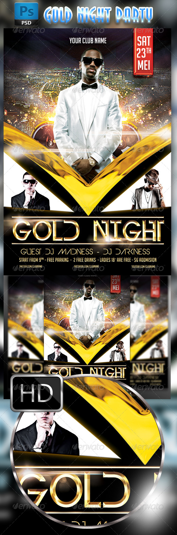 GraphicRiver Gold Party Flyer Template 8550389