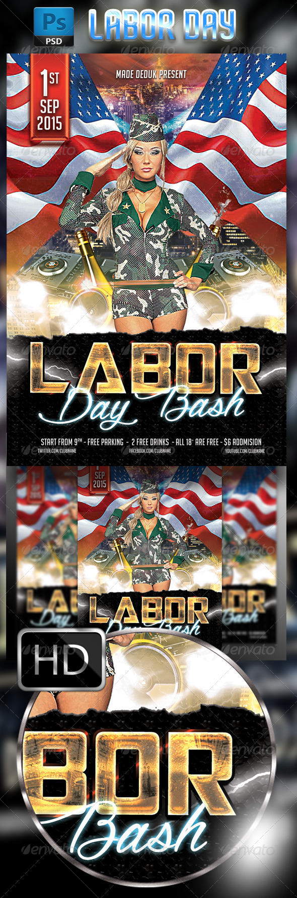 GraphicRiver Labor Day Flyer Template 8550465