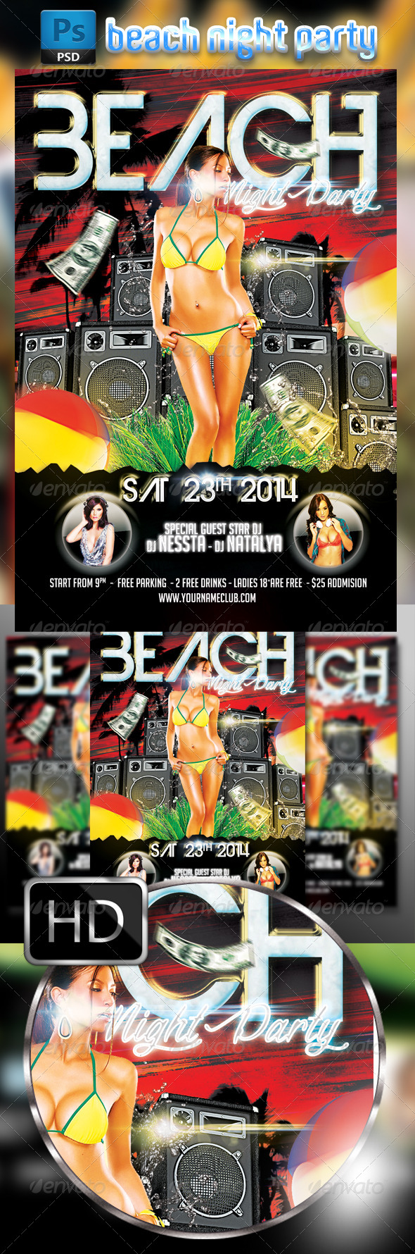 GraphicRiver Beach Party Night Flyer Template 8550514